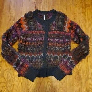 Free People fuzzy snap-front fair isle cardigan